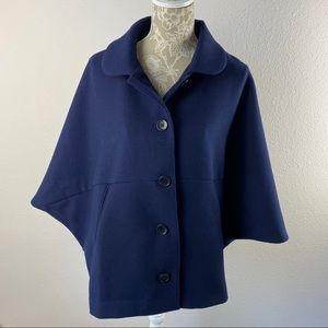 Ann Taylor Blue Cape Poncho Coat Medium Large